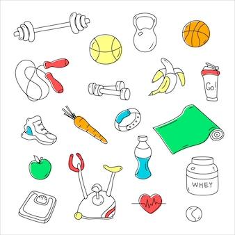 Mão desenhada fitness doodles.