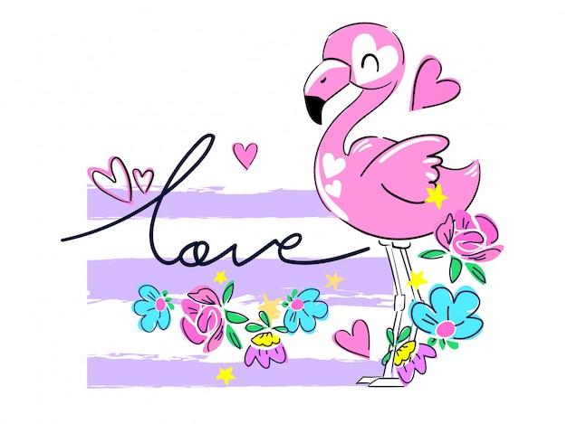 Mão desenhada flamingo rosa e flores.