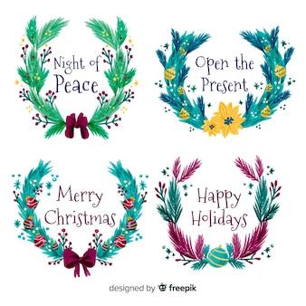Mão desenhada flor de natal e coleção de grinalda