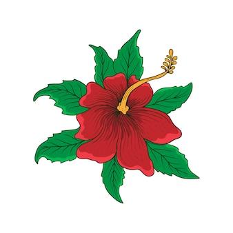 Mão desenhada flor tatuagem et camiseta design premium