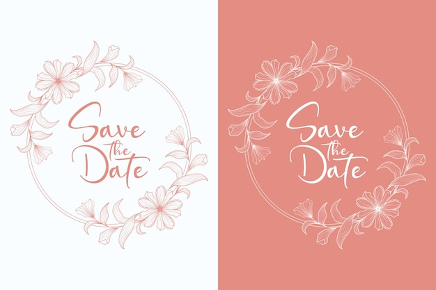Mão desenhada floral casamento coroa e moldura de casamento Vetor Premium