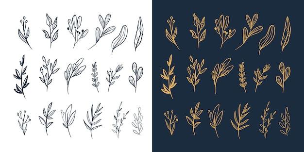 Mão desenhada floral e folhas folhagem novo grande conjunto de vetores