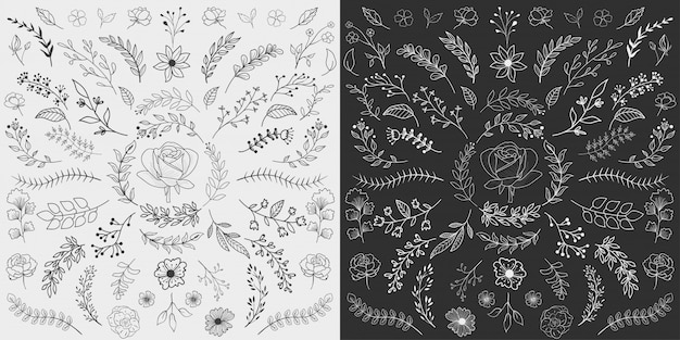 Mão desenhada floral elements vector
