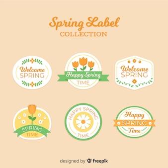 Mão desenhada floral emblemas coleção