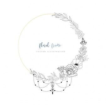 Mão desenhada floral frame com estilo boho