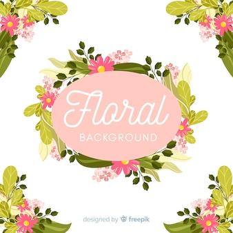 Mão desenhada floral frame e cantos de fundo