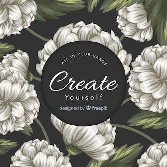 Mão desenhada floral fundo com slogan