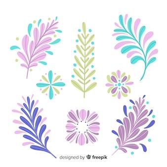 Mão desenhada flores coloridas e folhas coleção