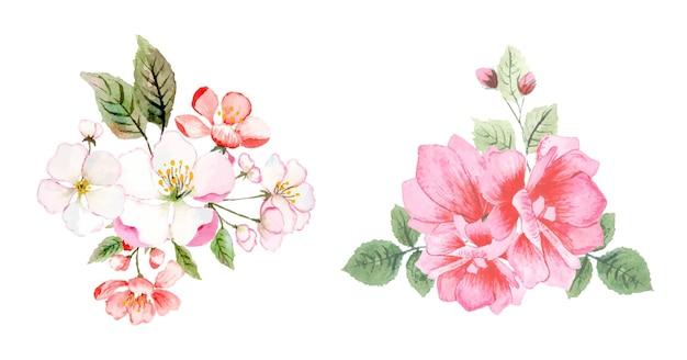 Mão desenhada flores em aquarela