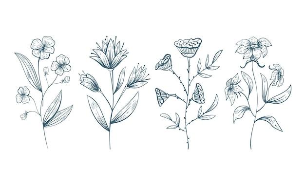 Mão desenhada flores florais doodle elementos de desenho de linha isolado conjunto de design de vetor