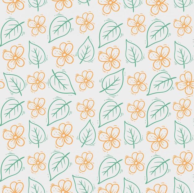 Mão desenhada flores fofas com folhas padrão