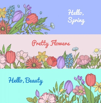 Mão desenhada flores web banner conjunto