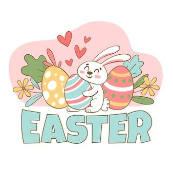 Mão desenhada fofa ilustração de páscoa com coelho