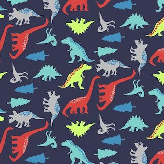 Mão desenhada fofo dinossauro padrão vector
