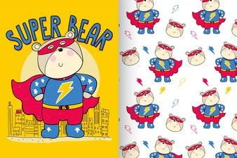 Mão desenhada fofo urso com conjunto padrão