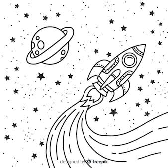 Mão desenhada foguete espacial moderno