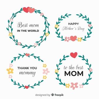 Mão desenhada folha grinalda coleção de crachá dia das mães