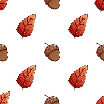 Mão desenhada folhas de outono com bolotas em um fundo padrão sem emenda