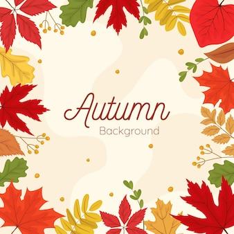 Mão desenhada folhas de outono modelo de banner de fundo
