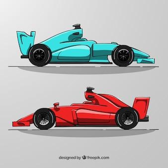 Mão desenhada fórmula 1 carros de corrida