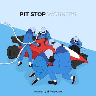 Mão desenhada fórmula 1 trabalhadores de pit stop