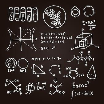 Mão desenhada fórmulas científicas no conjunto de quadro de giz