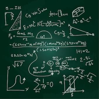 Mão desenhada fórmulas científicas no quadro-negro