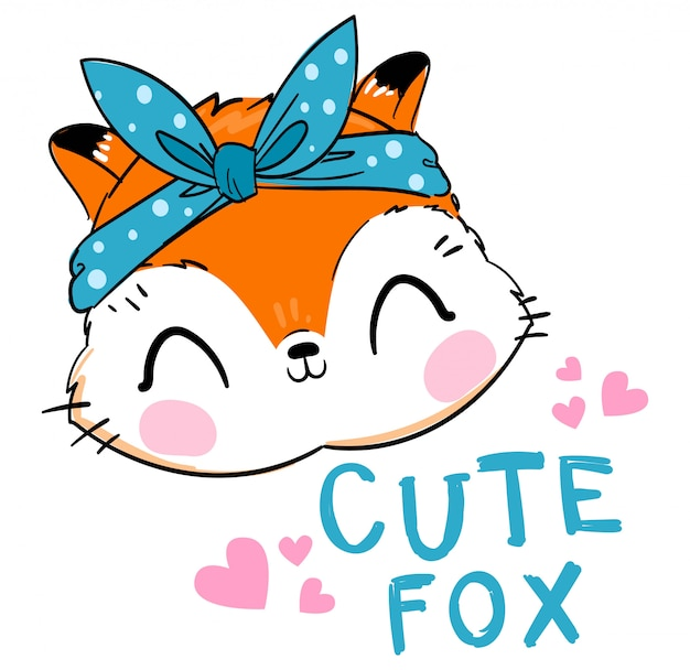 Mão desenhada fox bonito com laço azul ilustração
