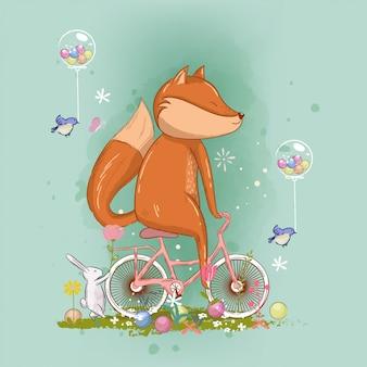 Mão desenhada fox bonito na ilustração de bicicleta para crianças