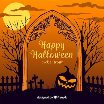 Mão desenhada frame de portão de cemitério de halloween