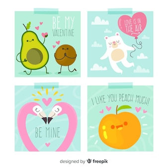Mão desenhada frutas e animais coleção de cartões de dia dos namorados