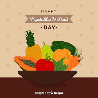 Mão desenhada frutas frescas e tigela de vegetais fundo