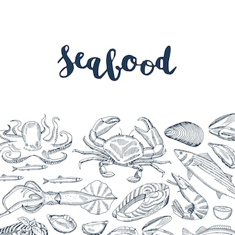 Mão desenhada frutos do mar elementos e letras