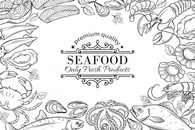 Mão desenhada frutos do mar restaurante menu ilustração.