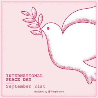 Mão desenhada fundo da pomba da paz