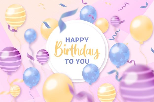 Mão desenhada fundo de aniversário com balões