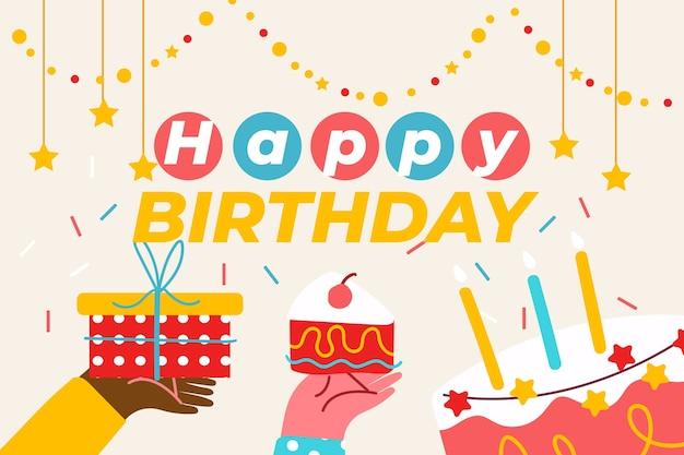 Mão desenhada fundo de aniversário com bolo e presente
