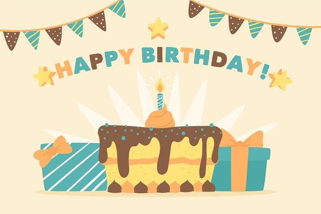Mão desenhada fundo de aniversário com bolo e presentes