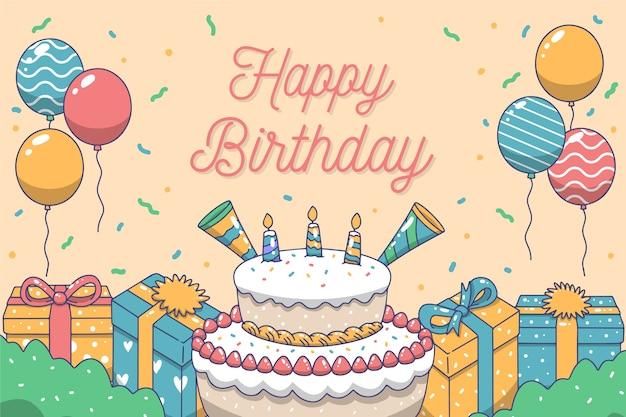 Mão desenhada fundo de aniversário com bolo