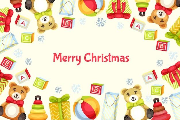 Mão desenhada fundo de brinquedos de natal