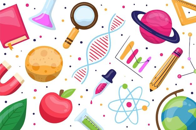 Mão desenhada fundo de ciência com coleção de elementos