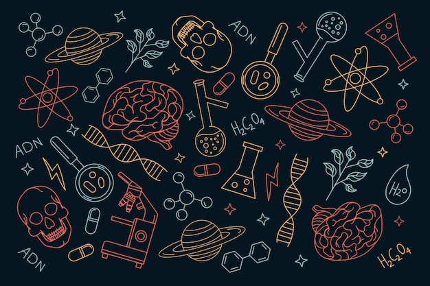 Mão desenhada fundo de ciência