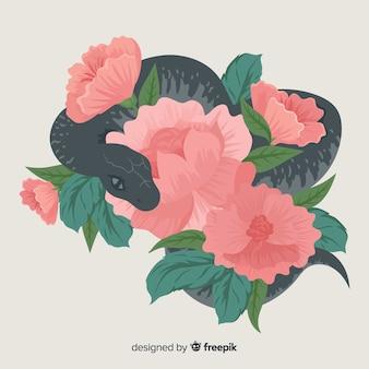 Mão desenhada fundo de cobra