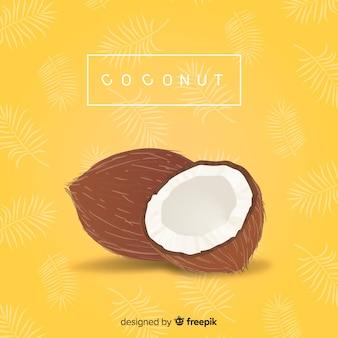 Mão desenhada fundo de coco
