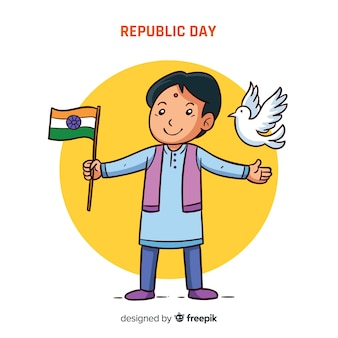 Mão desenhada fundo de dia da república da índia