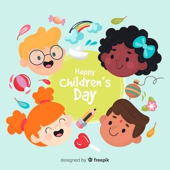 Mão desenhada fundo de dia das crianças