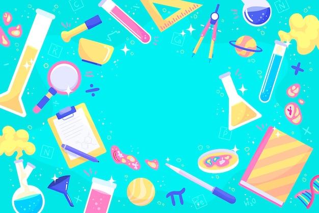 Mão desenhada fundo de educação científica colorida