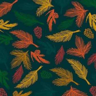 Mão desenhada fundo de galhos de árvore de natal