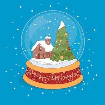 Mão desenhada fundo de globo de bola de neve de natal