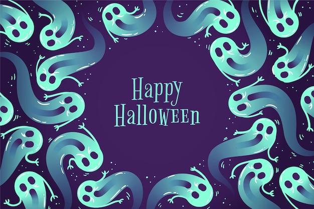 Mão desenhada fundo de halloween com fantasmas